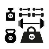 Las pesas de gimnasia siluetean, monocromo aislado en un fondo ligero Conjunto de pesos Elementos del vector para su diseño libre illustration