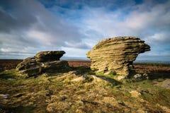 Las piedras del buey, Burbage amarran, Sheffield, Reino Unido fotografía de archivo
