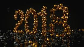 Las piedras del oro arreglaron en gran número 2018, representación 3D Imagen de archivo libre de regalías