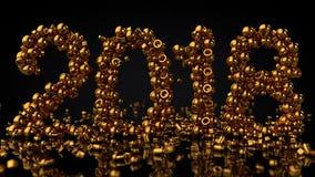Las piedras del oro arreglaron en gran número 2018, representación 3D Foto de archivo