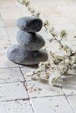 Las piedras en equilibrio con la primavera blanca fresca florecen para el bienestar Imagenes de archivo