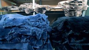 Las pieles coloreadas de animales se almacenan en una unidad del almacén metrajes