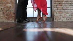 Las piernas delgadas de bailarines profesionales bailan tango almacen de video