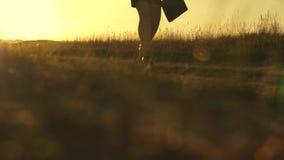 Las piernas femeninas atractivas de una mujer de negocios están caminando a lo largo de una carretera nacional mujer de negocios  almacen de metraje de vídeo