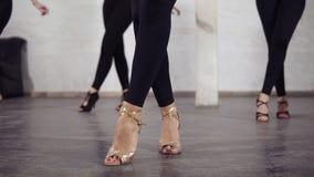 Las piernas femeninas hermosas en salón de baile calzan pasos básicos del bachata del baile metrajes