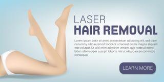 Las piernas sedosas pelan concepto Retiro del pelo del laser Publicidad de la bandera para la mujer Piel lisa Salón de belleza fe stock de ilustración