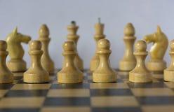 Las piezas de ajedrez blancas de madera, pedazos de ajedrez se colocan en un tablero de ajedrez en Foto de archivo libre de regalías