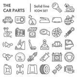 Las piezas del coche alinean el sistema del icono, símbolos colección, bosquejos del vector, ejemplos del logotipo, muestras de l