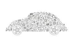 Las piezas del coche y los iconos de los servicios en coche del vintage forman Foto de archivo libre de regalías