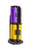 Las pilas AA del adaptador para la batería manejan la cámara moderna de DSLR Fotografía de archivo