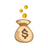 Las pilas de beneficios de la renta del bolso de las monedas del dinero del oro cobran la muestra de las actividades bancarias de libre illustration