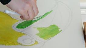 Las pinturas del artista representan la lona de las ilustraciones en estudio del arte metrajes