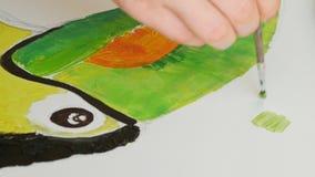 Las pinturas del artista representan la lona de las ilustraciones en estudio del arte almacen de video