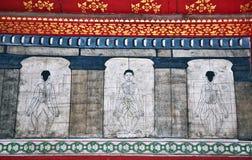 Las pinturas en el templo Wat Pho enseñan Imagen de archivo libre de regalías
