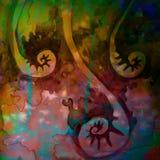 Las pinturas resumidas de la acuarela que arrollaban que torcían en espiral mezclaron vides Foto de archivo libre de regalías