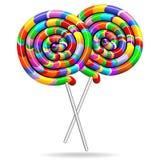 Las piruletas tuercen en espiral los colores del arco iris ilustración del vector