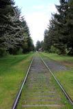 Las pistas de ferrocarril a ninguna parte Qualicum varan, a.C. imágenes de archivo libres de regalías
