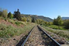 Las pistas de la Durango histórica y del indicador estrecho de Silverton Railroad Imagen de archivo libre de regalías