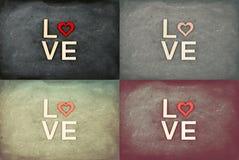 Las pizarras del vintage con los corazones y la palabra rojos AMAN ilustración del vector