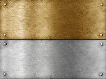 Las placas de metal fijaron incluir el oro (el latón) imagenes de archivo
