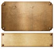 Las placas de metal o los nameboards de cobre viejos fijaron con el ejemplo de los remaches 3d imágenes de archivo libres de regalías
