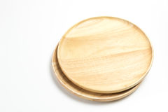 Las placas o las bandejas de madera aislaron el fondo blanco Fotografía de archivo