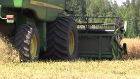 Las plantas de guisante secas maduras de la cosecha de la máquina de la cosechadora crecen en campo de granja almacen de metraje de vídeo