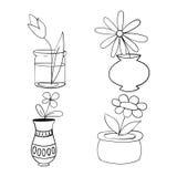Las plantas de tiesto fijan, vector las flores del ejemplo en potes Fotografía de archivo