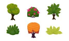 Las plantas del verano fijaron, los arbustos y los árboles lindos de la fantasía de la historieta, los activos de la interfaz de  stock de ilustración
