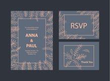 Las plantillas de las invitaciones de la boda fijaron con las ramitas de las ramas de la hoja floral libre illustration
