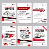 Las plantillas de la disposición del negocio de servicios de reparación auto fijaron, portada de revista del automóvil, folleto a fotografía de archivo