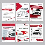 Las plantillas de la disposición del negocio de servicios de reparación auto fijaron, portada de revista del automóvil, folleto a fotos de archivo libres de regalías