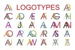 Las plantillas del logotipo hicieron de la combinación de la letra A con todas las letras del alfabeto inglés en diversos colores ilustración del vector