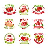 Las plantillas superiores del logotipo de la carne fresca de la calidad fijaron, los mejores ejemplos del vector de la insignia d libre illustration