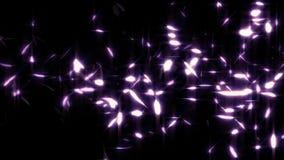 Las plumas púrpuras que brillan intensamente que caen colocan el elemento gráfico cubierto ilustración del vector