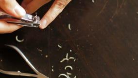 Las podadoras de clavo del uso cortaron los clavos, cortocircuito para la buena higiene corte las uñas corte los clavos clavos de metrajes