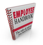 Las políticas de las reglas del manual del empleado siguen en las instrucciones del trabajo Imágenes de archivo libres de regalías