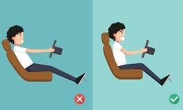 Las posiciones mejores y peores para conducir un coche ilustración del vector