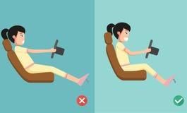 Las posiciones mejores y peores para conducir un coche libre illustration