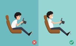 Las posiciones mejores y peores para conducir un coche stock de ilustración
