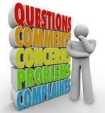 Las preguntas comentan las preocupaciones que piensan a Person Words Fotos de archivo