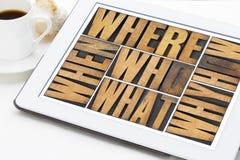 Las preguntas resumen en el tipo de madera Imagenes de archivo