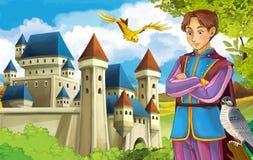 Las princesas - castillos - caballeros y hadas - Manga Girl hermoso - ejemplo para los niños stock de ilustración
