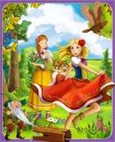 Las princesas se escudan - los caballeros y las hadas - a Manga Girls hermoso - ejemplo para los niños stock de ilustración