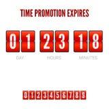Las promociones expiran, contador de tiempo análogo del reloj del tirón Plantilla del contador de tiempo de la cuenta descendient Fotos de archivo libres de regalías