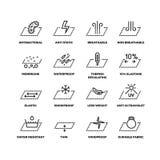 Las propiedades de la materia textil de la tela enrarecen la línea iconos del vector Imágenes de archivo libres de regalías
