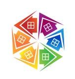 Las propiedades inmobiliarias contienen insignia Fotografía de archivo libre de regalías