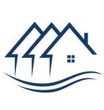 Las propiedades inmobiliarias contienen insignia ilustración del vector