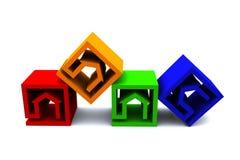 Las propiedades inmobiliarias cubican horizonatal Imagenes de archivo