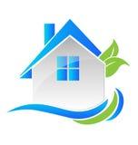 Las propiedades inmobiliarias modernas contienen el logotipo Imagen de archivo